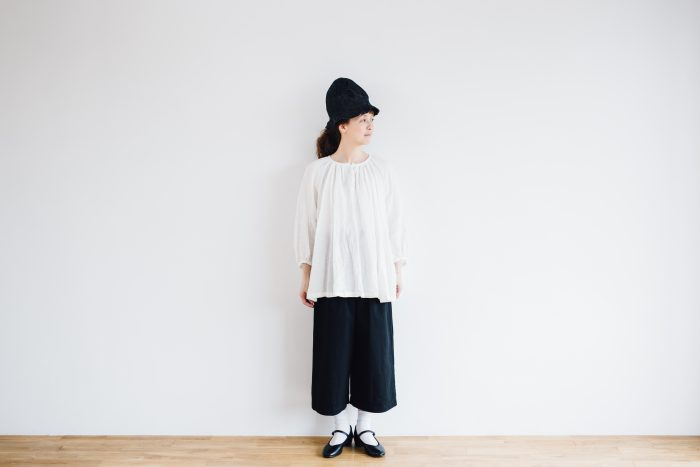 LINEN Gather Blouse  -white- 1