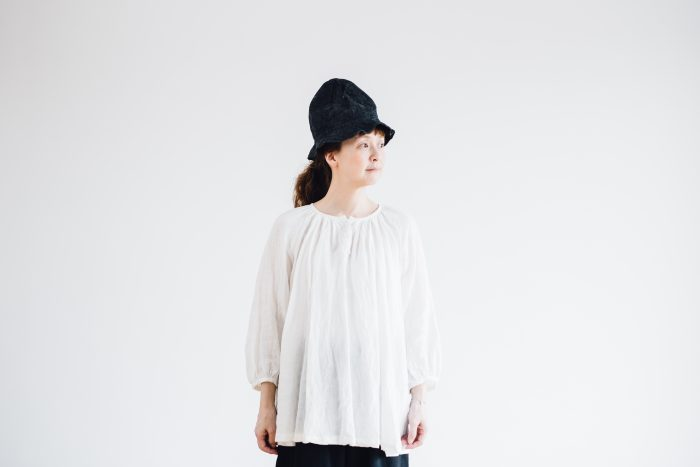 LINEN Gather Blouse  -white- 4