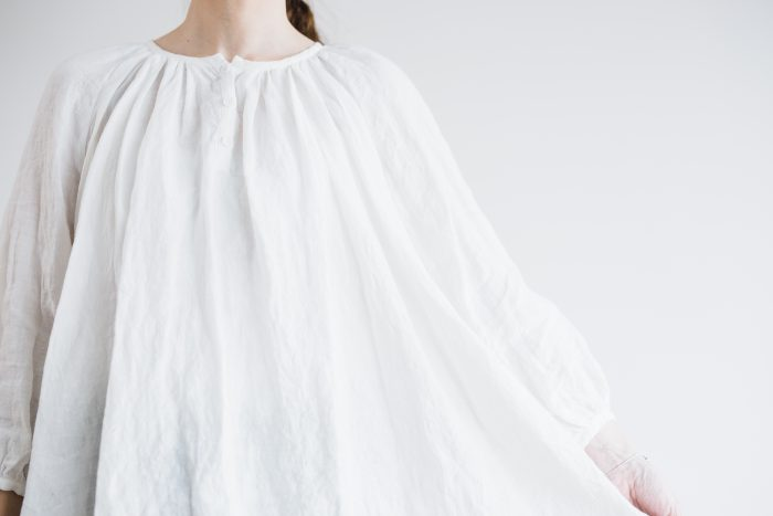 LINEN Gather Blouse  -white- 5