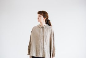 LINEN Tiny Collar Pull-Over  -dark beige- 2