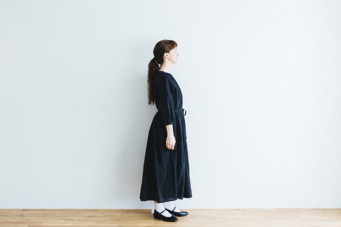 COTTON GATHER ONE-PIECE DRESS  black 2