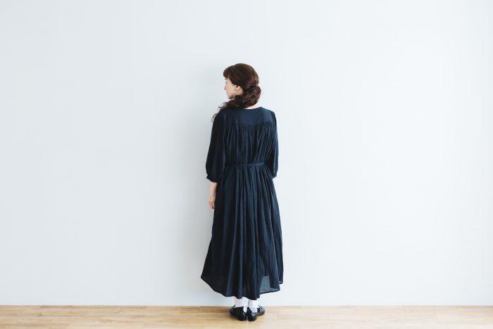COTTON GATHER ONE-PIECE DRESS  black 3