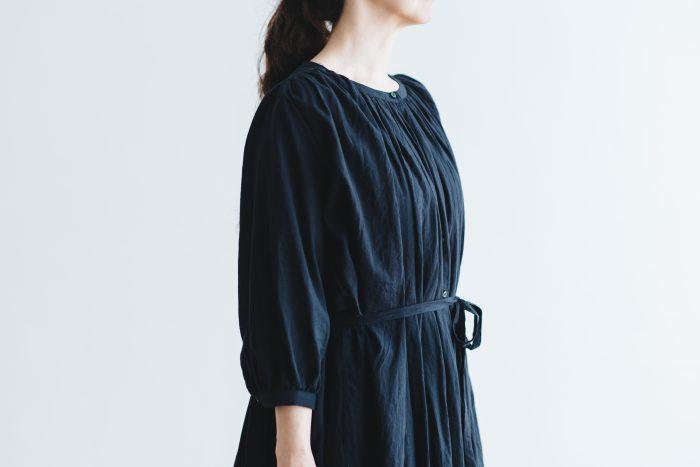 COTTON GATHER ONE-PIECE DRESS  black 4