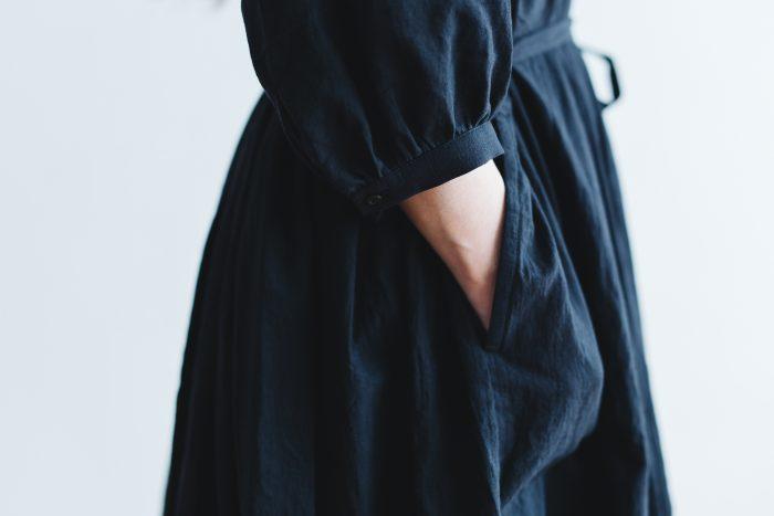COTTON GATHER ONE-PIECE DRESS  black 6