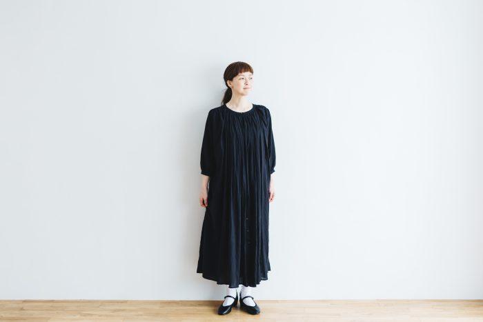 COTTON GATHER ONE-PIECE DRESS  black 5