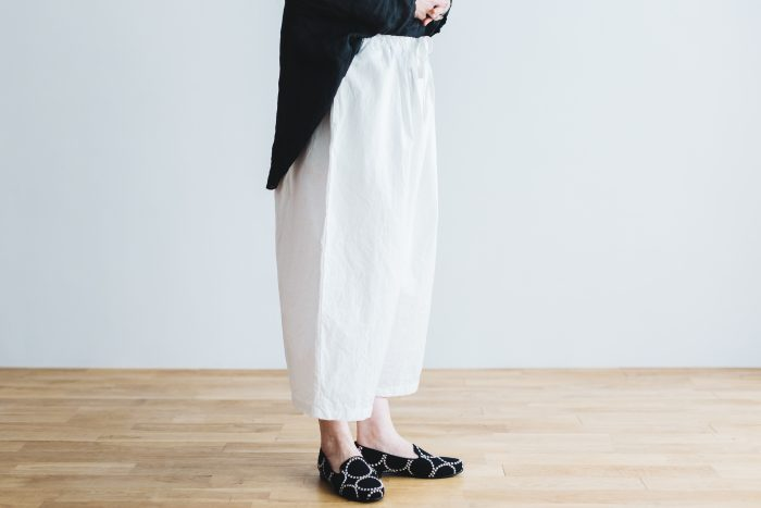 WETHER CLOTH WIDE SAROUEL PANTS   white 2