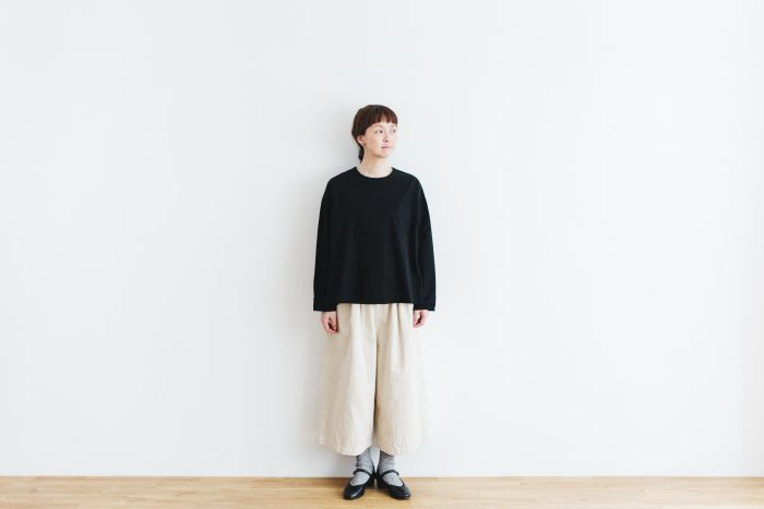 Cotton Side Gather Pullover black 1