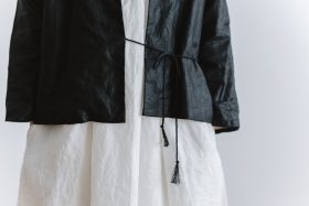 original coating linen HAORI jacket  black 5