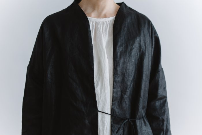 original coating linen HAORI jacket  black 4