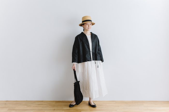 original coating linen HAORI jacket  black 6