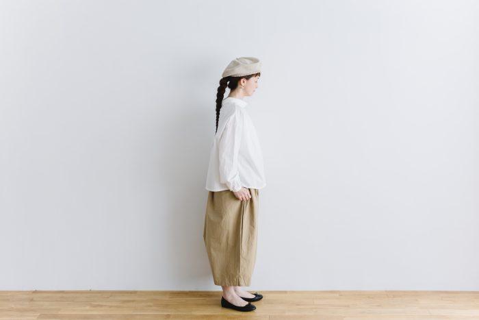 roll collar 2way blouse  mat white 2