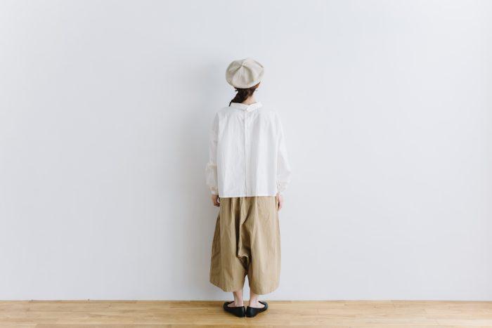 roll collar 2way blouse  mat white 3