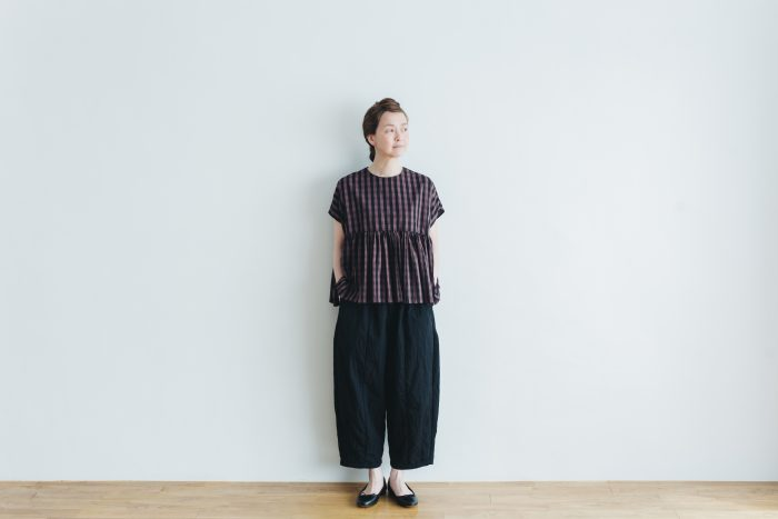 switing gather wide pull over  GARMENT DYE   brown gingham 3