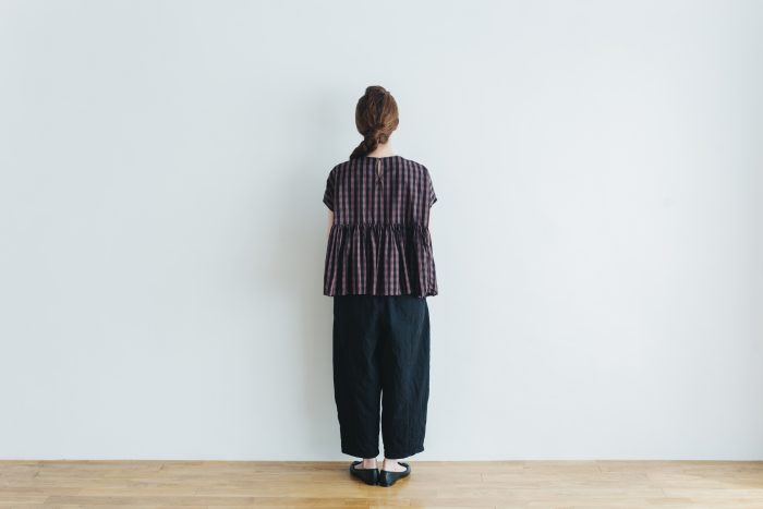 switing gather wide pull over  GARMENT DYE   brown gingham 4