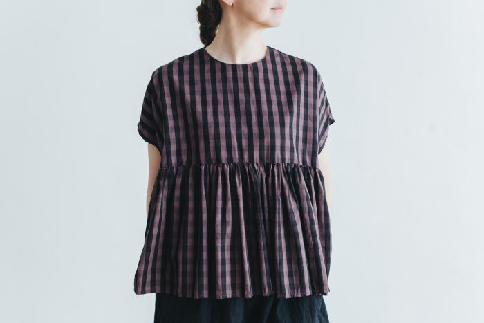 switing gather wide pull over  GARMENT DYE   brown gingham 1