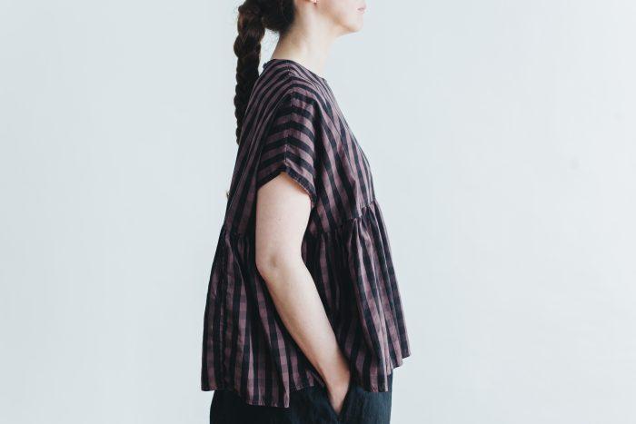 switing gather wide pull over  GARMENT DYE   brown gingham 2