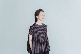switing gather wide pull over  GARMENT DYE   brown gingham 5