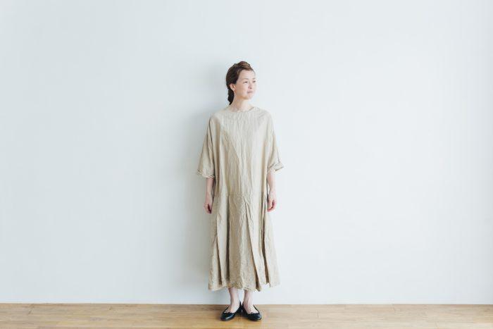 linen cotton pleated dress light beige 1
