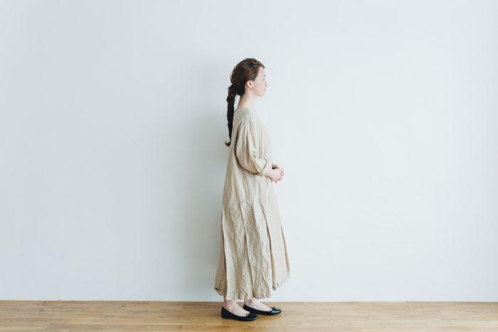 linen cotton pleated dress light beige 2