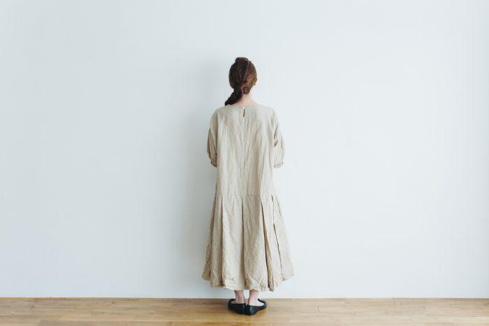 linen cotton pleated dress light beige 3