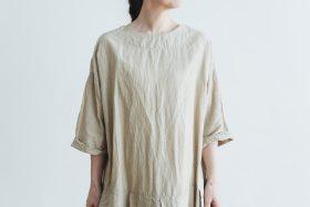 linen cotton pleated dress light beige 4