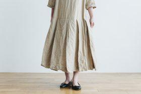 linen cotton pleated dress light beige 5