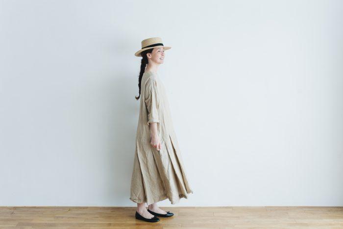 linen cotton pleated dress light beige 6
