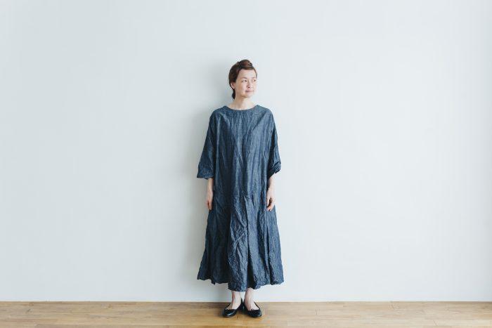 linen cotton pleated dress indigo 1