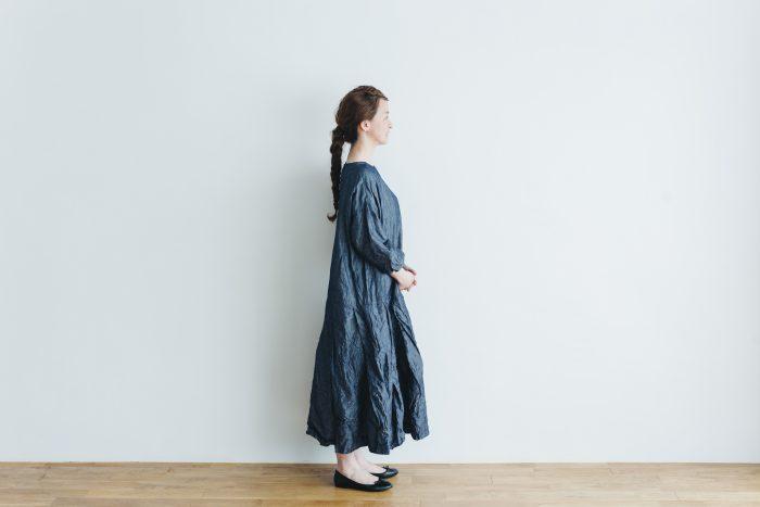 linen cotton pleated dress indigo 2