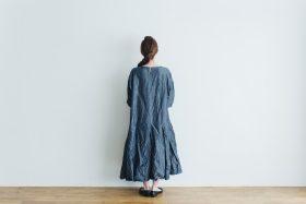 linen cotton pleated dress indigo 3