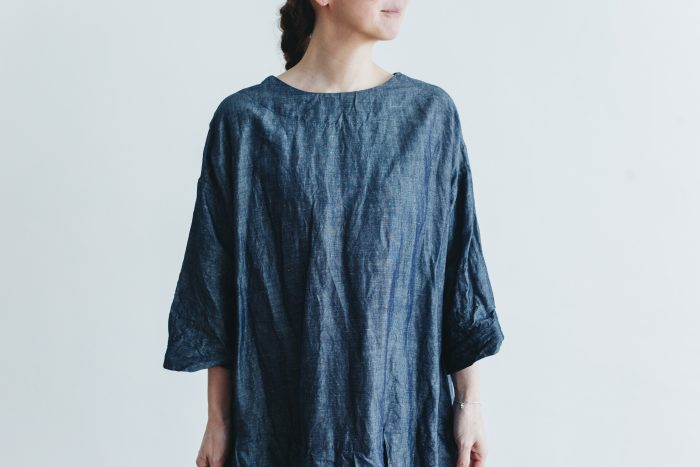 linen cotton pleated dress indigo 4