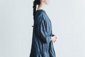 linen cotton pleated dress indigo 6