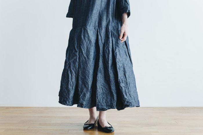 linen cotton pleated dress indigo 5