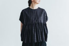 switing gather wide pull over  GARMENT DYE   charcoal gingham 1