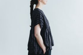 switing gather wide pull over  GARMENT DYE   charcoal gingham 2