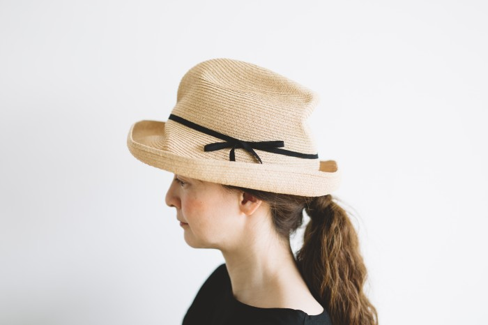 BOXED HAT raffia brim 11㎝  black 1
