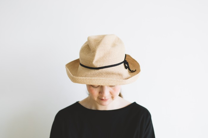 BOXED HAT raffia brim 11㎝  black 2