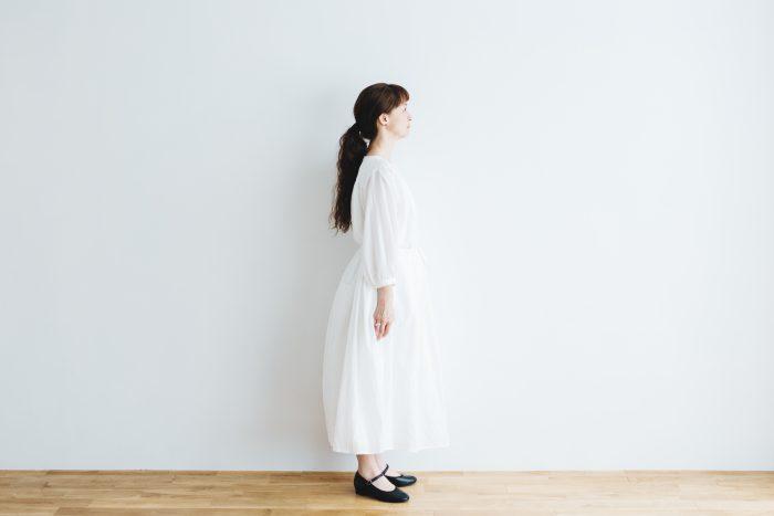 COTTON GATHER ONE-PIECE DRESS  off white 2