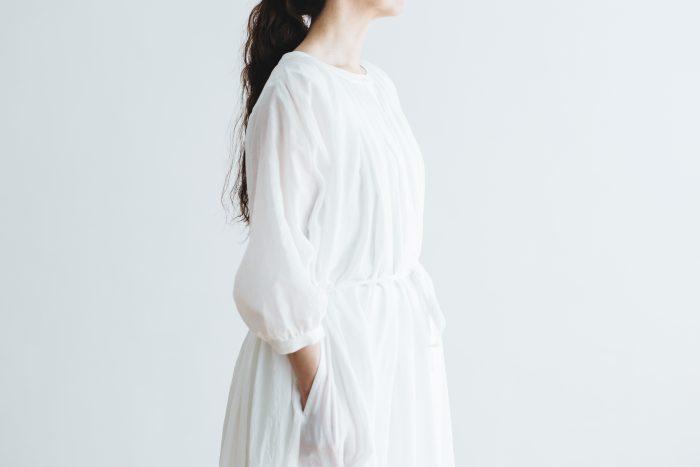 COTTON GATHER ONE-PIECE DRESS  off white 4