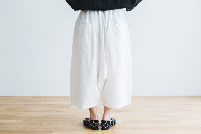 WETHER CLOTH WIDE SAROUEL PANTS   white 3