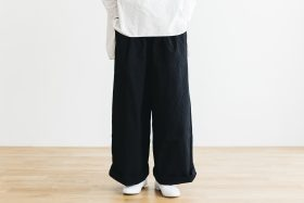 WEATHER COTTON Long Roomy Pants  -black- 1
