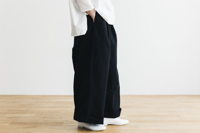 WEATHER COTTON Long Roomy Pants  -black- 2