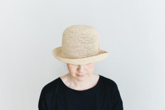 raffia hat short ornament 1