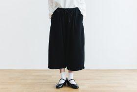 Wool Wide Sarouel pants  black 1