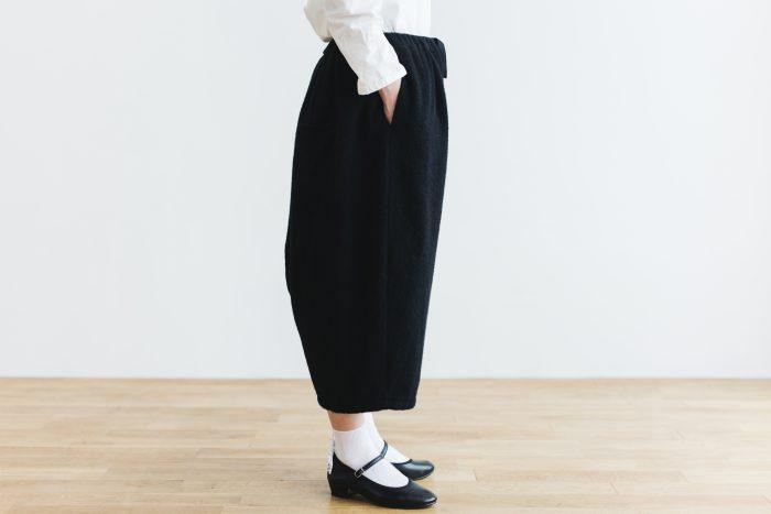 Wool Wide Sarouel pants  black 2