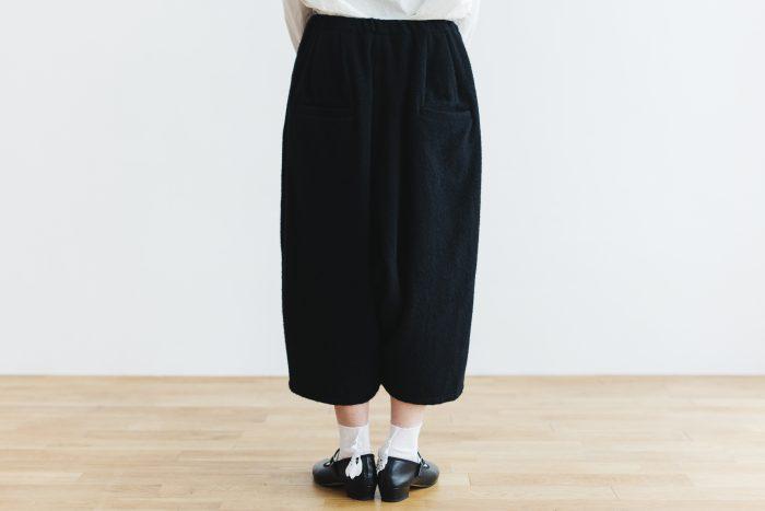 Wool Wide Sarouel pants  black 3