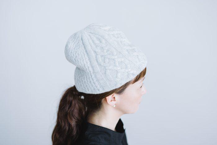 slant cutting knit felt relief cap aran2 lamb  light gray 2