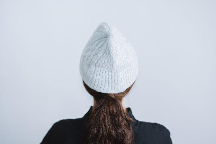 slant cutting knit felt relief cap aran2 lamb  light gray 3