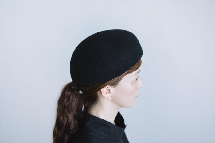 Japanese old wooden block beret  black 2