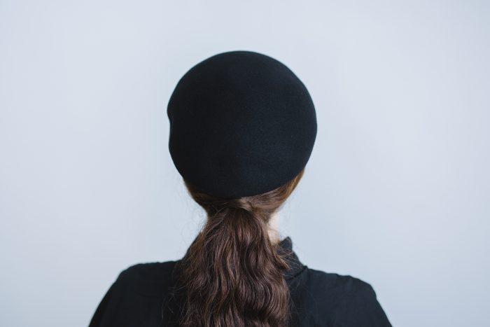 Japanese old wooden block beret  black 3